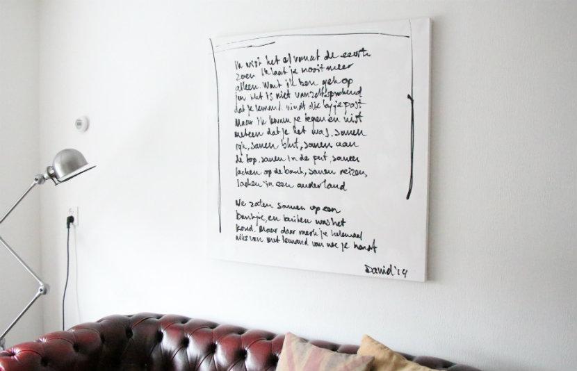 Schilderij met songtekst