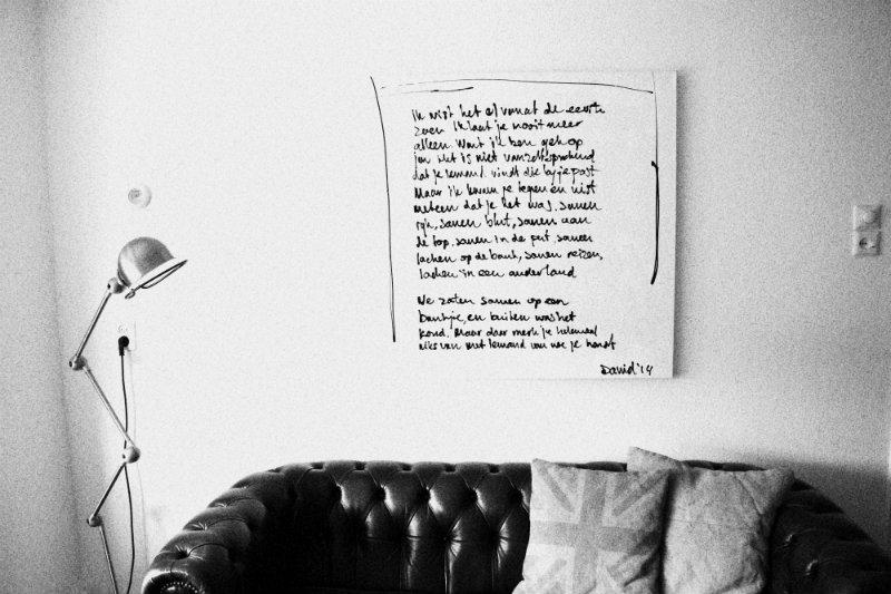 schilderij met handgeschreven tekst