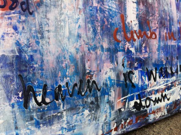 geschilderde songteksten op canvas